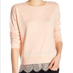Joie Hilano lace hem sweater dusty pink